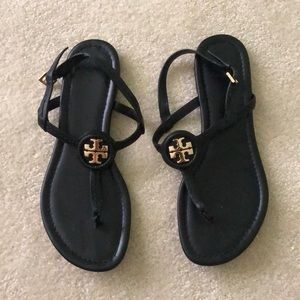 Black Leather Tory Burch Sandals